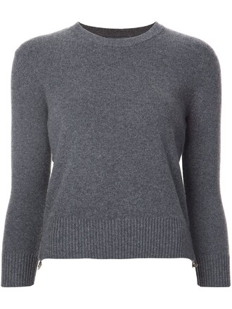 jumper zip women grey sweater