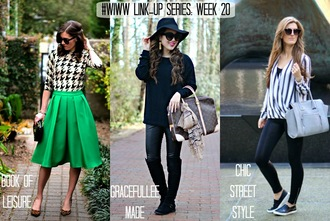 book of leisure blogger midi skirt green skirt houndstooth striped shirt outfit