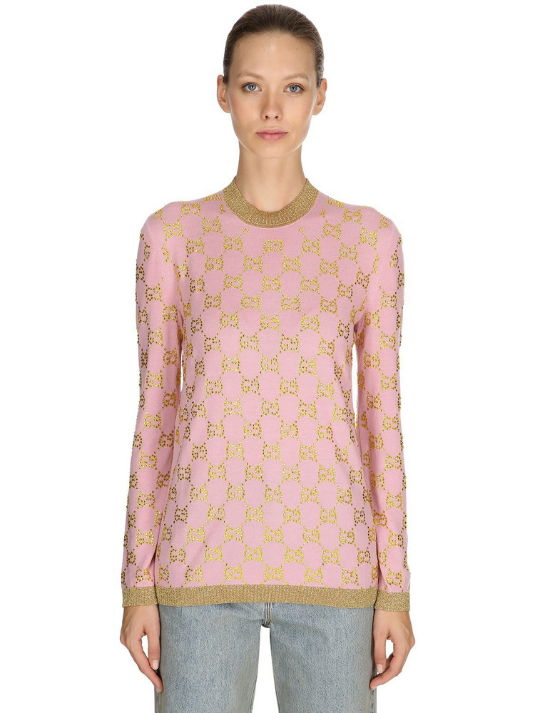 GUCCI Gg Embellished Wool Jacquard Sweater in gold / pink