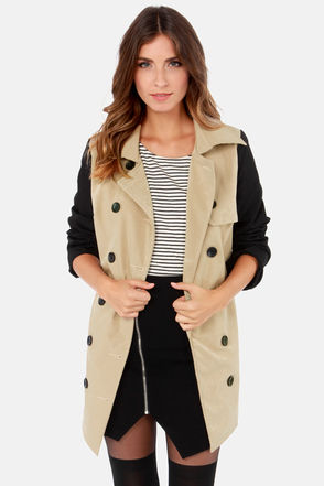 Cute Beige Jacket - Trench Coat - Color Block Coat - $127.00