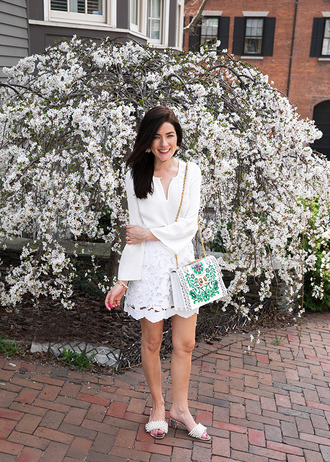 classy girls with pearls blogger shirt skirt shoes bag jewels white top white skirt sandals spring outfits