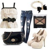 blouse,shirt,pants,make-up,bag,purse,jeans,shoes,bracelets,jewelry,t-shirt,white top,for all things lovely,bow top,black and white,tank top,ripped jeans,black bag,nude heels,outfit