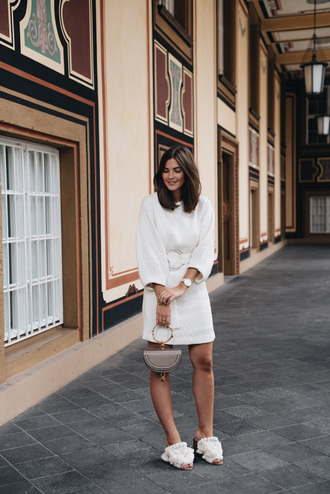 dress tumblr mini dress white dress long sleeves shoes mules white shoes bag