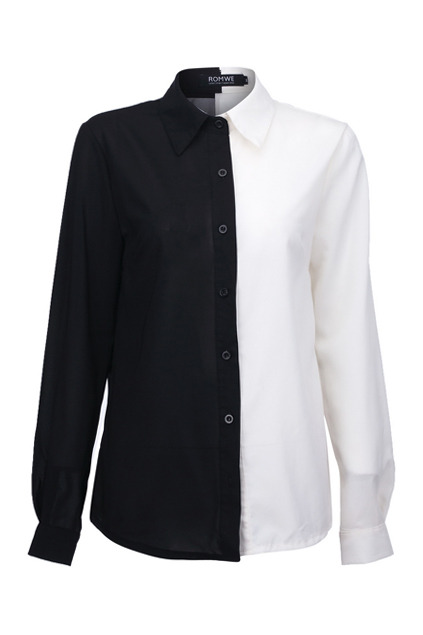 Julirtte lapel neck black shirt