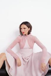 dress,pastel,pastel pink,victoria beckham,long sleeves,long sleeve dress,celebrity,editorial,vogue