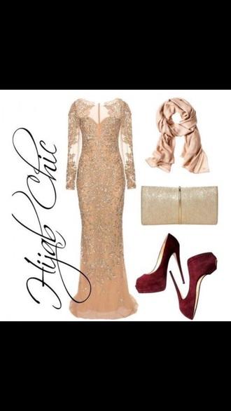 dress gold sequins evening dress gala dress long dress long sleeve dress maxi dress