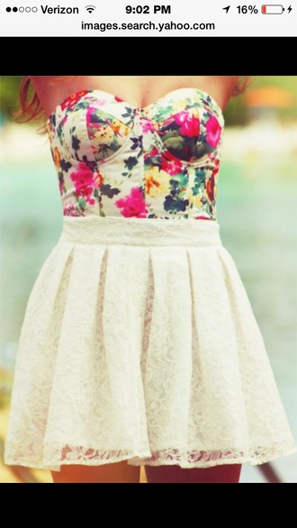 floral dress bustier dress white dress floral bustier dress
