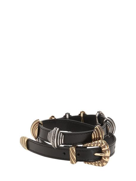 ETRO Leather Belt W/ Sliding Metal Details in black