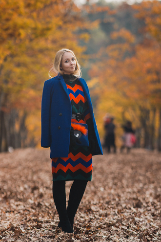 my blonde gal blogger sweater dress bag coat gloves shoes blue coat fall outfits fall dress thigh high boots boots