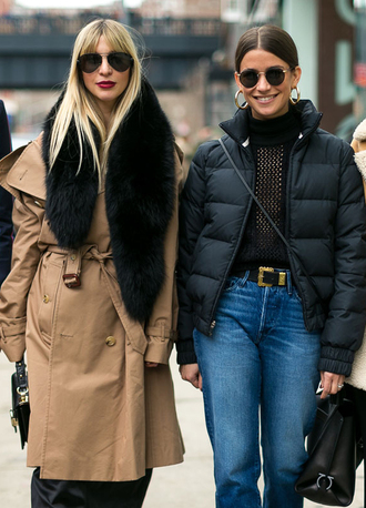 scarf nyfw 2017 fashion week 2017 fashion week streetstyle fur scarf camel camel coat trench coat denim jeans blue jeans belt top black top mesh mesh top see through see through top turtleneck black turtleneck top jacket black jacket bag black bag sunglasses