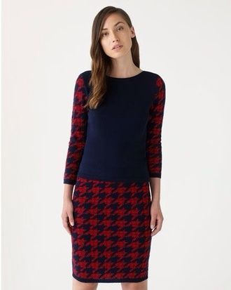 blue and red checkered skirt dress