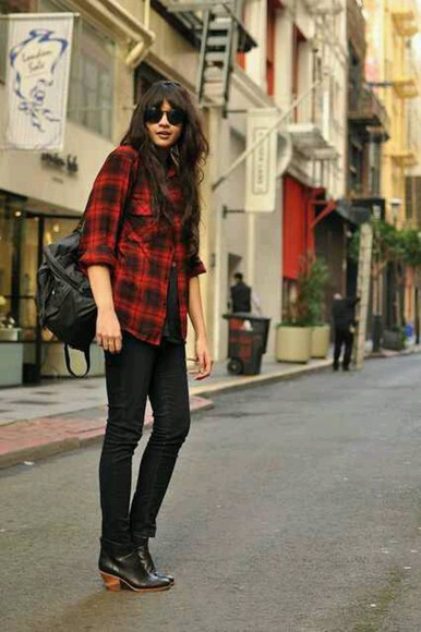 top long sleeves blouse red plaid flannel red plaid shirt overshirt topshirt
