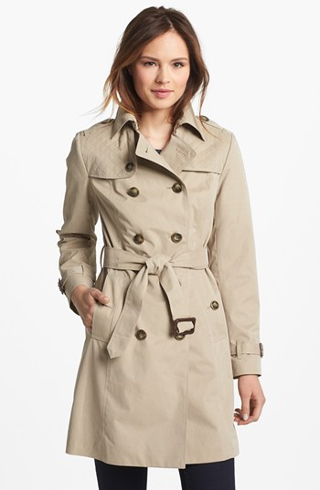 Fog Quilted Flap Double Breasted Trench Coat (Regular & Petite ...