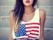 tank top,american,clothes,girly,swag,shirt,american flag,t-shirt,blouse,usa,white,stars,us flag tank,top,america,High waisted shorts,flag,american apparel,us flag,red lipstick