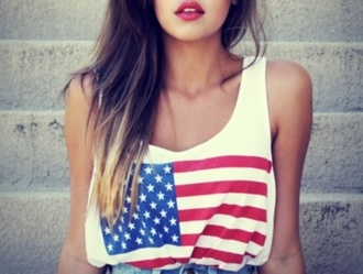 tank top american clothes girly swag shirt american flag t-shirt blouse usa white stars us flag tank top america high waisted shorts flag american apparel us flag red lipstick