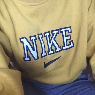 sweater yellow sweatshirt nike 90s style perfect white 90s grunge nike sweater blue tumblr tumblr outfit bad jaune amarillo cute crewneck