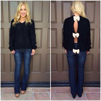 bow back sweater cut-out black and white ustrendy
