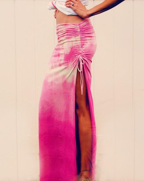 skirt pink white bleach spandex lycra slit skirt drawstrings tie dye acid wash