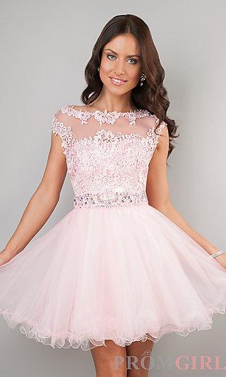 Short Cap Sleeve Lace Prom Dress - PromGirl