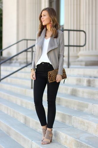 sophistifunk by brie bemis rearick | a personal style + beauty blog blogger shoes jewels grey jacket animal print clutch black jeans white top suede heels wedges thick heel work outfits animal print bag