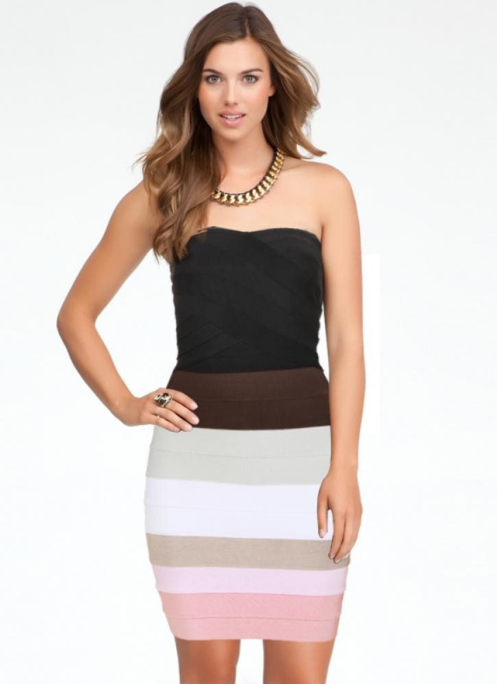 Bqueen Gray Ombre Strapless Bandage Dress H589