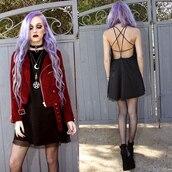 jacket,red,suede,moon,velvet,black,dress,black dress,mini dress,pendant,necklace,amethyst crystal,crystal,choker necklace