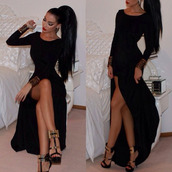 dress,black dress,black,long,long dres,sexy,high low,long sleeves,shoes,red dress,fashion women dresses,nice,maxi dress,black long dresses,black slit dress,long dress,beautiful,prom dress,tumblr,slit dress