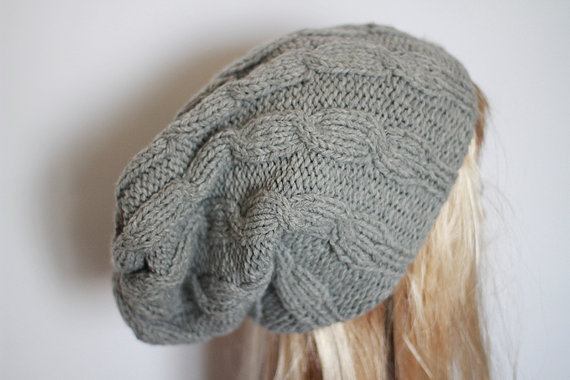 Slouchy Beanie Hat Gray Handknit Oversize on Wanelo