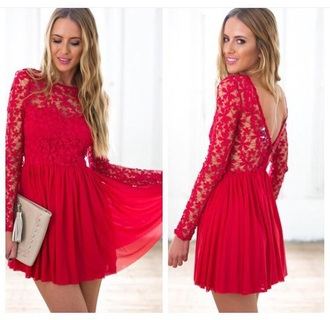 dress red lace