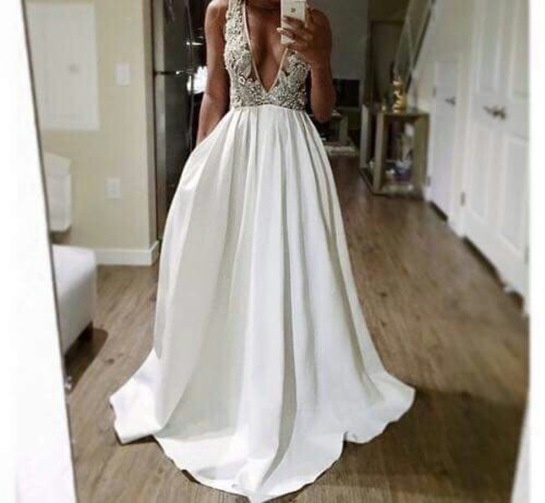 dress prom dress white dress white prom dress ellegan formal dress designer white v neck dress embroidered embroidery wedding dresses embroidery white long gown satin dress lace dress formal long dress sequins sequin dress formal party dresses white formal dress low cut dress ball gown dress