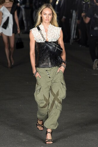 pants candice swanepoel alexander wang nyfw 2017 ny fashion week 2017 runway top belt sandals lace top lace