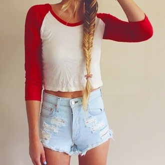 shorts high waisted shorts distressed denim shorts shirt crop tops baseball tee t-shirt top casual white cute sporty crewneck outfit style fashion red bag red baseball shirt white top