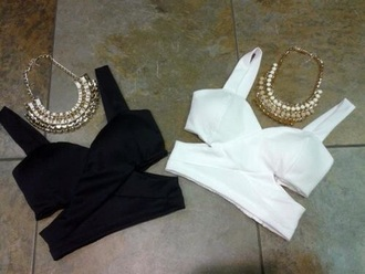 top jewels necklace gold necklace crop tops bralette cut out top cut out tops black and white party party top party outfits outfit rave classy girly ishopcandy cut out crop top