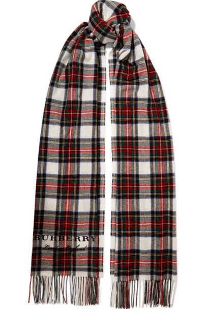 Burberry oversized scarf white wool tartan