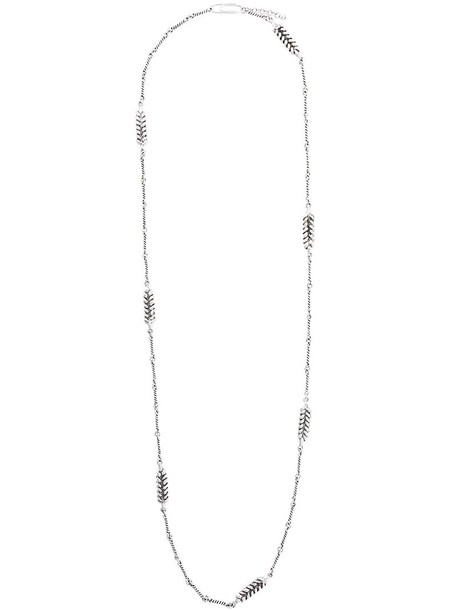 AURELIE BIDERMANN long necklace long women necklace silver grey metallic jewels