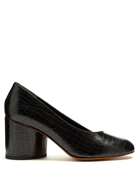 CLERGERIE pumps leather crocodile black shoes