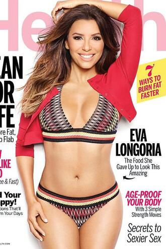 swimwear bikini bikini top bikini bottoms eva longoria editorial jacket