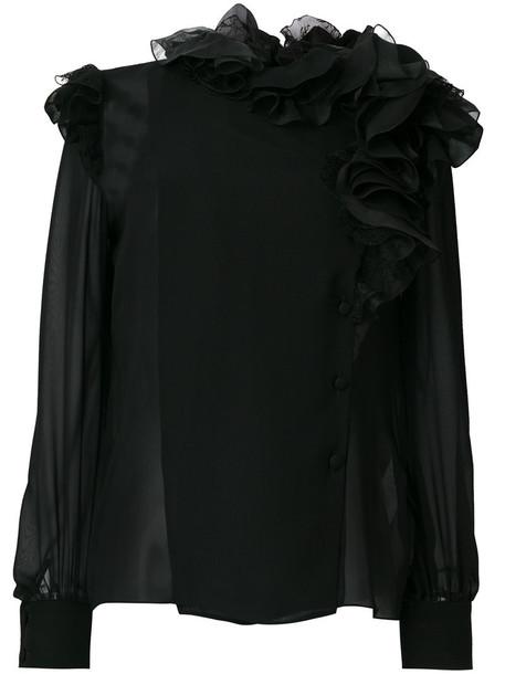 blouse chiffon ruffle women cotton black silk top