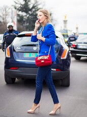 bag,red bag,embellished,shoulder bag,denim,jeans,blue jeans,blazer,blue blazer,platform pumps,pumps,high heel pumps,streetstyle,fall outfits,embellished bag