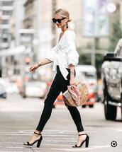 blouse,black jeans,tumblr,white blouse,white top,denim,jeans,skinny jeans,sandals,sandal heels,high heel sandals,bag,basket bag,shoes