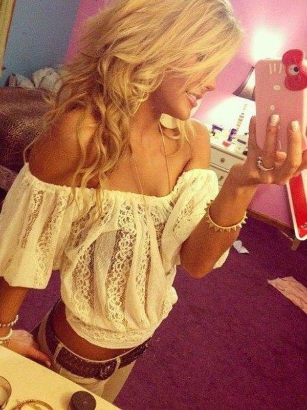 blouse white off the shoulder cute summer fashion jeans blonde hair lovely girl shirt lace lovely