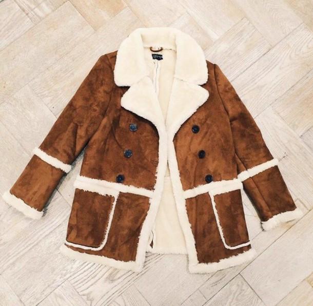 coat suede wool warm suede jacket shearling jacket camel shearling coat