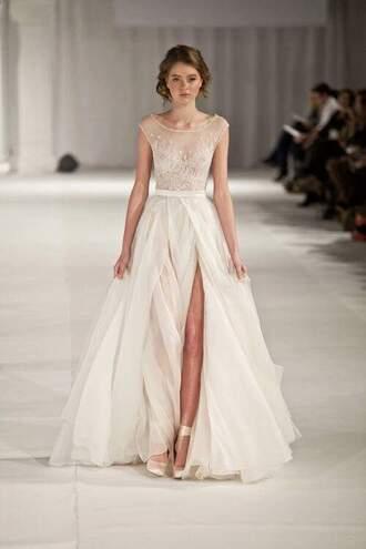 dress white lace dress prom dress with a slit chiffon bateau a-line deep v