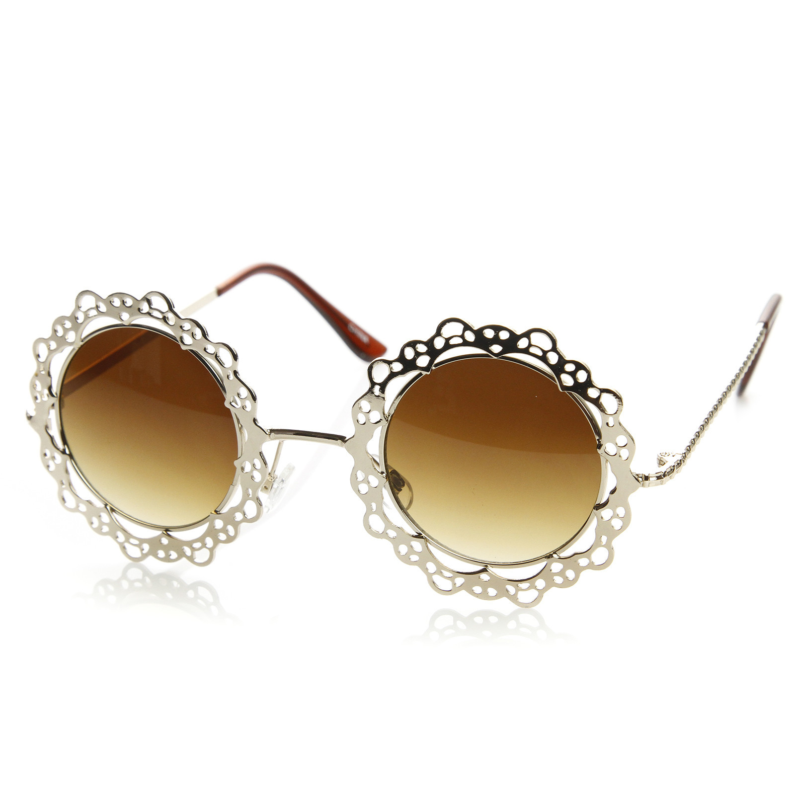 circle sunglasses womens  Fashion Metal Lace Cut Round Circle Fashion Sunglasses 8963