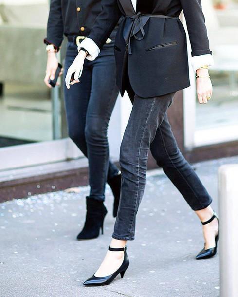 83e92c2f74f2a jeans black shoes shoes tumblr black jeans kitten heels mid heel pumps  blazer black blazer office