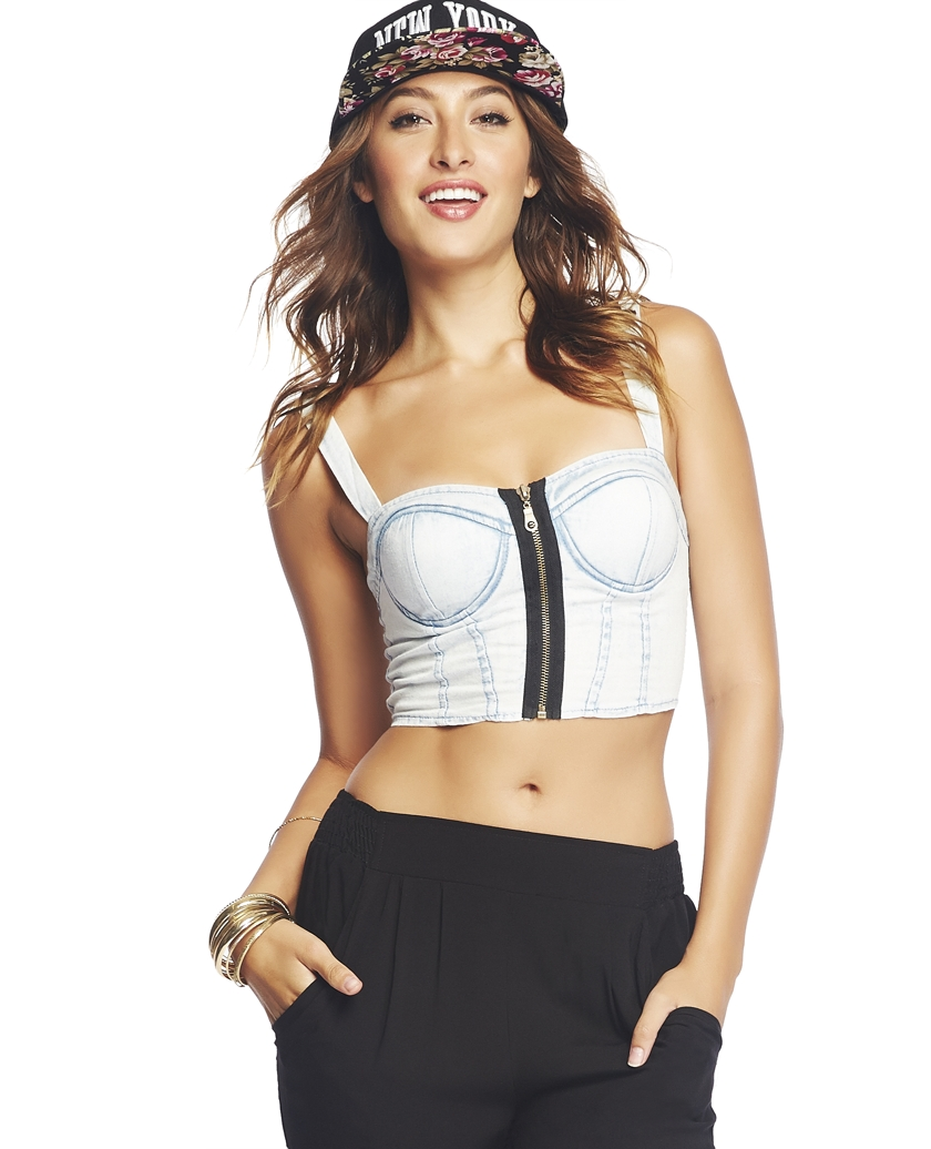 Denim Zip-Front Bustier | Wet Seal