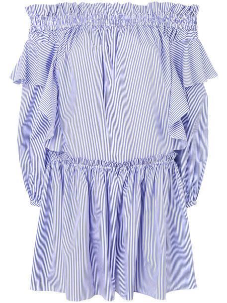 Alexander Mcqueen dress striped dress women cotton blue