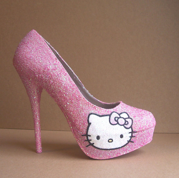 Pink Hello Kitty Glitter High Heels on Wanelo