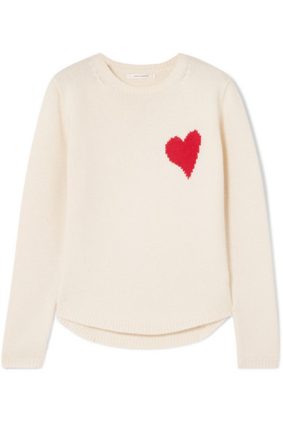 Chinti and Parker sweater heart wool cream