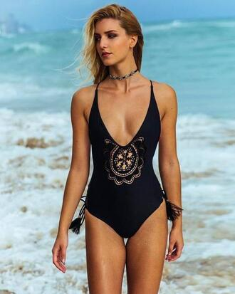 swimwear black crochet one piece swimsuit soah